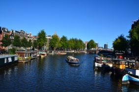 Dutch houseboats line the canals.