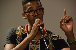 Tumelo singing at the AfroVibes Festival.
